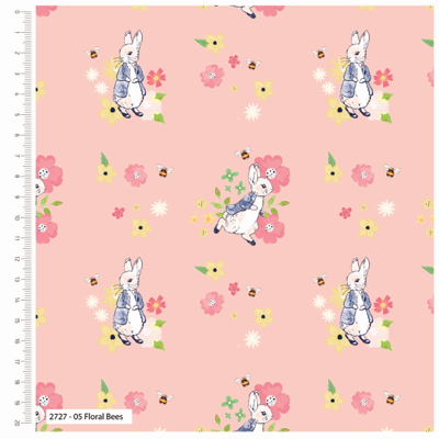 Peter Rabbit Floral Bee Cotton Fabric