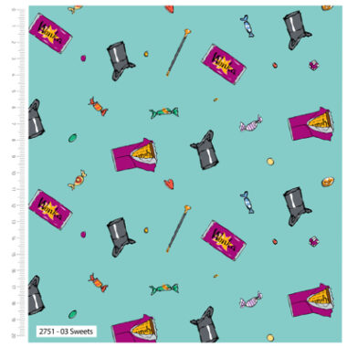 Willy Wonka Sweets Cotton Fabric