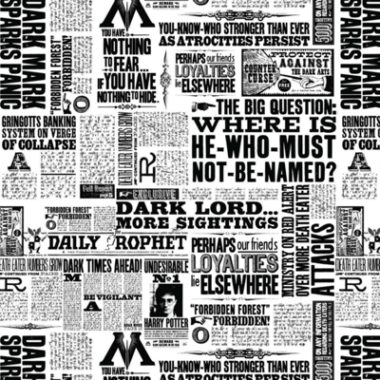 Harry Potter Newsprint Fabric