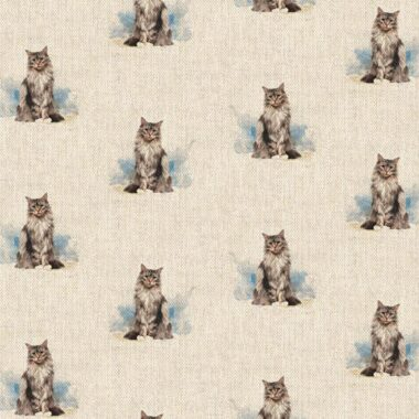Cat All Over Linen Style Canvas Fabric