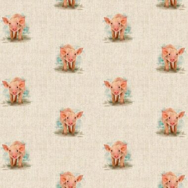 Piglet All Over Linen Style Canvas Fabric