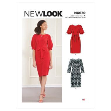 New Look Sewing Pattern N6679 Misses' Knee Length Dress With Sleeve Variations