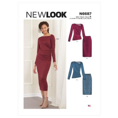 New Look Sewing Pattern N6687 Misses' Knit Skirt & Top