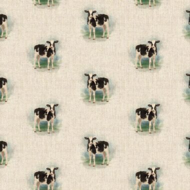 Cow All Over Linen Style Canvas Fabric