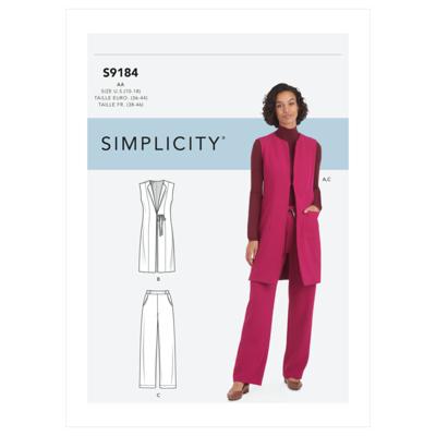Simplicity Sewing Pattern S9184 Misses' & Women's Vest & Pants