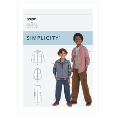 Simplicity Sewing Pattern S9201 Children's & Boys' Shirt, Vest & Pull-On Pants