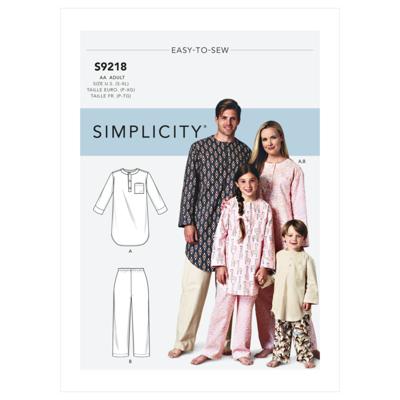 Simplicity Sewing Pattern S9218 Misses', Men's & Children's Tunic & Pants