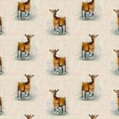 Goat All Over Linen Style Canvas Fabric