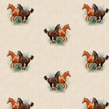 Horses All Over Linen Style Canvas Fabric