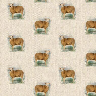 Farm Sheep All Over Linen Style Canvas Fabric