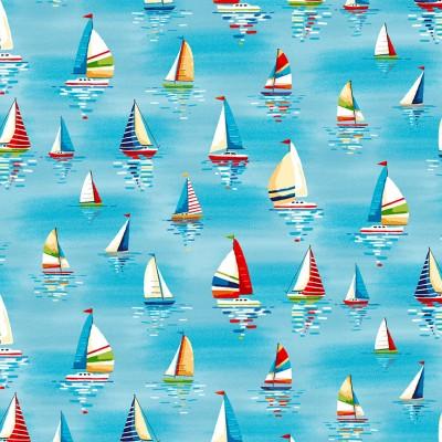 Beside The Sea Makower Sailboats Cotton Fabric