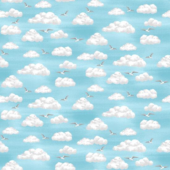Beside The Sea Makower Clouds Cotton Fabric