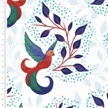 Birds and Leaves White Cotton Fabric By Sarah Payne