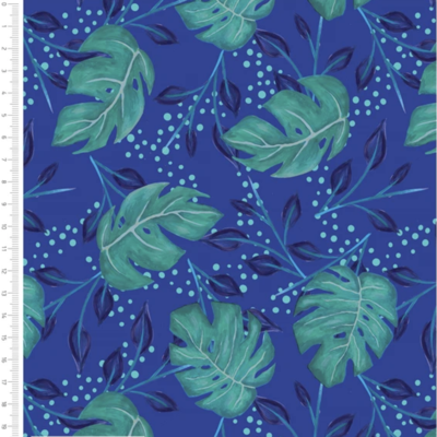 Jungle Leaves Turquoise Cotton Fabric By Sarah Payne
