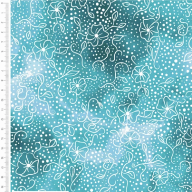 Flower Blender Turquoise Cotton Fabric By Sarah Payne