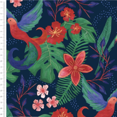 Birds of Paradise Navy Cotton Fabric By Sarah Payne