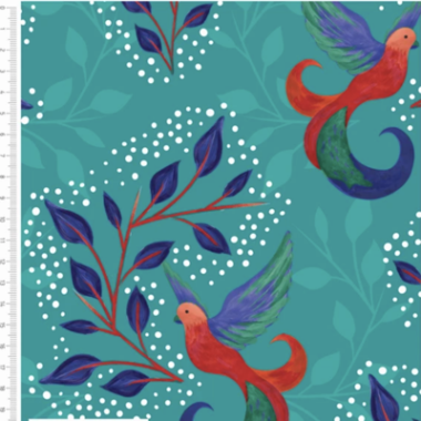 Birds and Leaves Turquoise Cotton Fabric By Sarah Payne