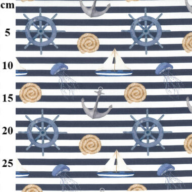 Sea Side Stripe Digital Cotton Canvas Fabric