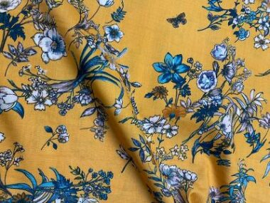 Moutarde Viscose Flowers Dress Fabric