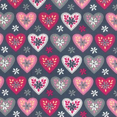 Retro Hearts Rose and Hubble Cotton Fabric